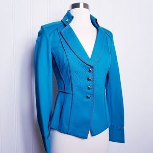 WHBM Fitted Teal Military Style Blazer